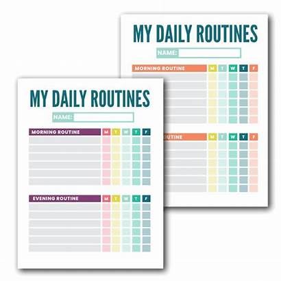 Routine Chart Daily Template Chore Charts Kid