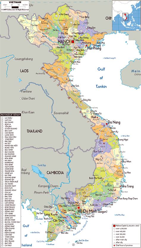 large political  administrative map  vietnam