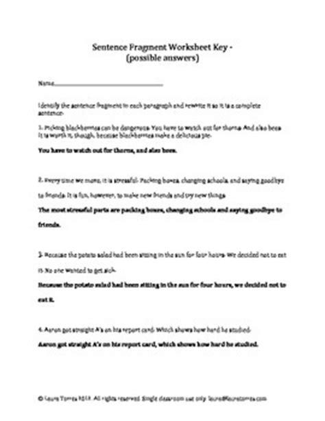 sentence fragments worksheets quizzes  answer keys