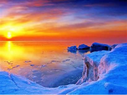 Sunset Winter Sunrise Icy Lake Desktop Wallpapers