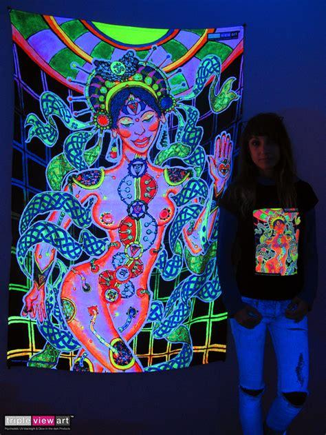quot chakra girl quot uv blacklight fluorescent glow psychedelic