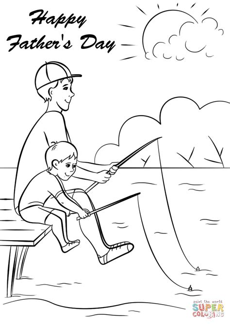 Father And Son Fishing Together Coloring Page Free