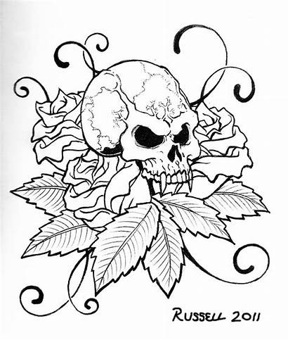 Skull Coloring Pages Tattoo Rose Printable Designs