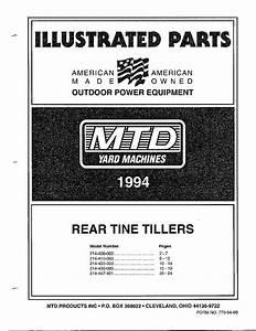 Mtd Rear Tine Tiller Parts