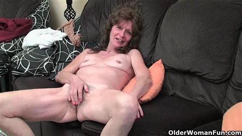 Saggy Granny In Stockings Masturbates Hairy Pussy Granny