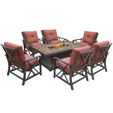 oakland living vienna gas firepit table seating 7 pc