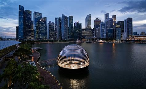 apples  glass sphere adds  singapores skyline