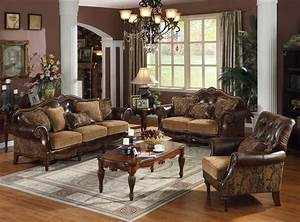 Acme Dreena Traditional Bonded Leather and Chenille Living ...