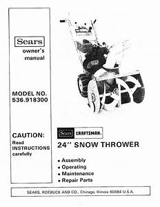Sears Snow Blower 536 9183 User Guide