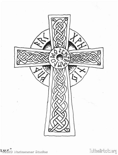 viking cross - anyone know what the writing is? perhaps use that space for fam. | Tats