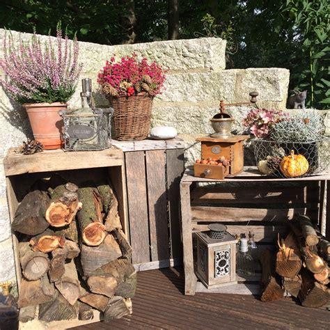 deko für die terrasse herbst deko 2016 vintage look holzscheite glutenfreie rezepte kreative ideen