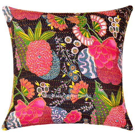 Large Accent Pillows by Large 24x24 Decorative Boho Accent Cotton Kantha