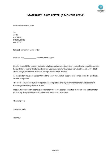 maternity leave letter templates  allbusinesstemplatescom