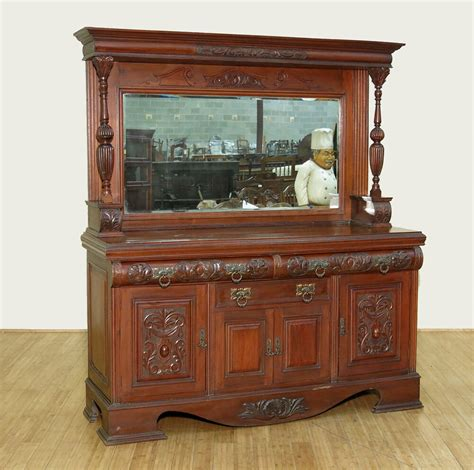 Sideboard Cabinet Antique by C1900 Large Antique Walnut Mirrorback Buffet Sideboard