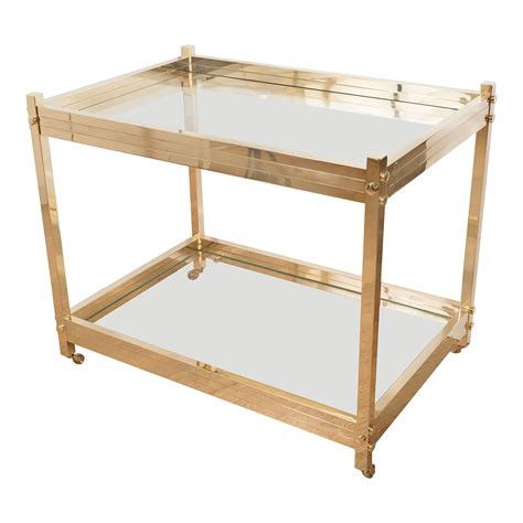 Rolling Bar by Two Tier Brass And Glass Rolling Bar Cart Serving Carts