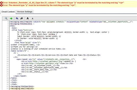 visualforce email template i a simple visualforce email template that gives a tag error message when i add in the apex