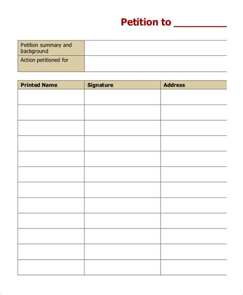 petition templates   word documents