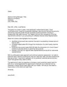 Sle Of Device Sales Representative Resume by Sle Cover Letter Device Cover Letter Exles