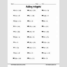 Free Adding Integers Worksheet (2 Terms) By Breeze Through Math Tpt
