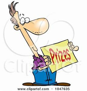 Cartoon Man Holding A Prizes Sign Posters Art Prints By