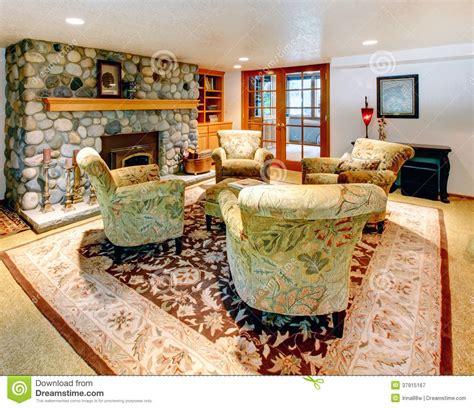 cozy big living room  rock background fireplace