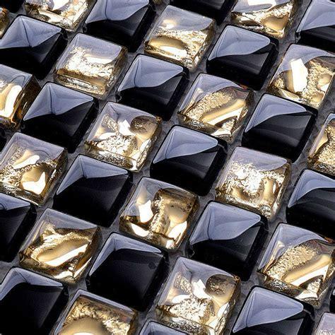 Crystal Glass Mosaic Tile Backsplash Gold & Black Blend