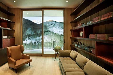 linear mountain house  wood glass  chalet charm