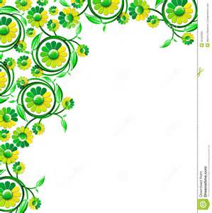 Green Flowers Corner Border Designs