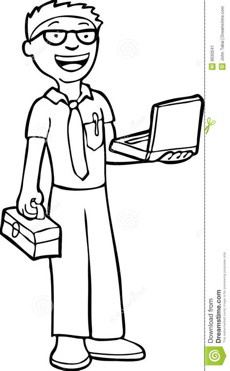 Computer Technician - Black And White Stock Image - Image