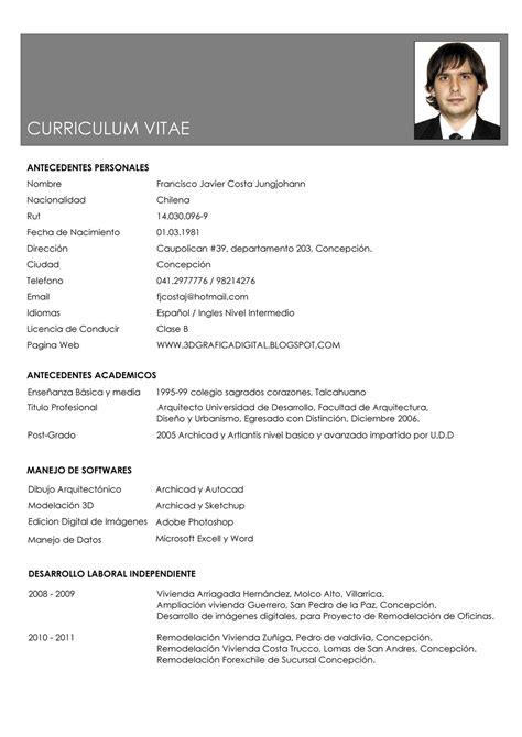 ejemplo de curriculum vitae en word design bild