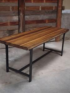 Table Plateau Bois : table ou bureau metal industriel militaire plateau bois massif ~ Teatrodelosmanantiales.com Idées de Décoration