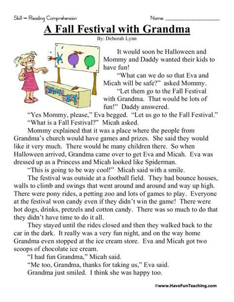 fall festival  grandma worksheet    grade