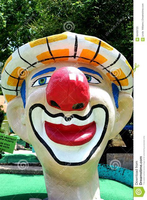 giant clown head miniature golf stock photo image