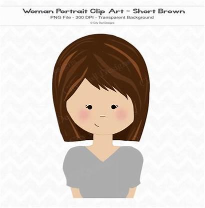 Hair Brown Clipart Short Haired Clip Woman