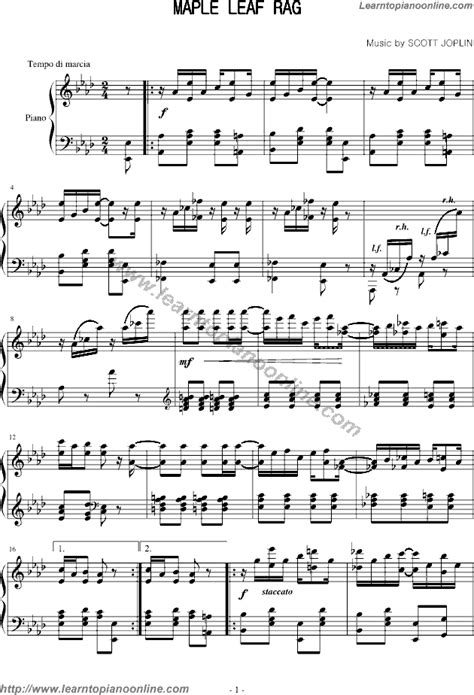 Free printable sheet music for maple leaf rag by scott joplin for easy/level 3 piano solo. Maple Leaf Rag by Scott Joplin Free Piano Sheet Music   Learn How To Play Piano Online