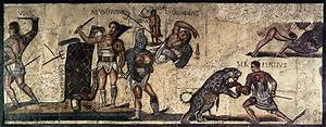 Ancient Illustration - Gladiators Fighting Animals