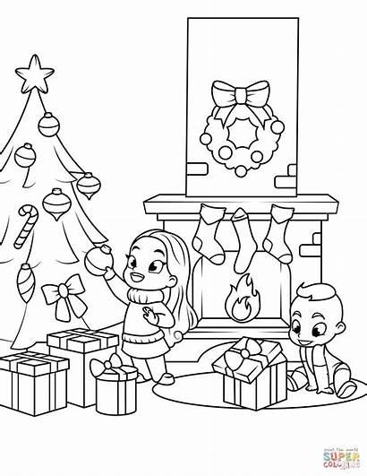 Fireplace Coloring Christmas Pages Tree Near Printable