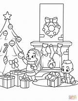 Fireplace Coloring Christmas Pages Tree Near Printable Print Drawing Getcolorings Dot sketch template