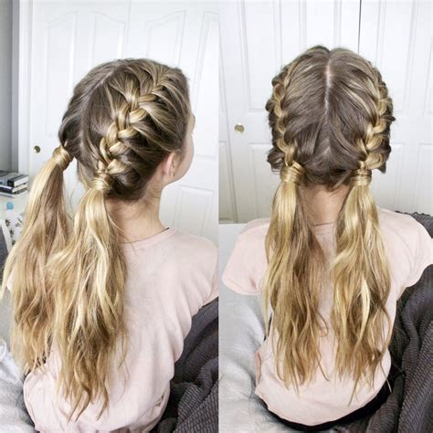 french braids  messy pigtails french braid