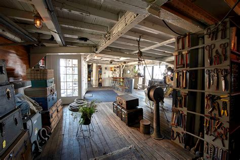 a historic ellis island ferry is now an eclectic home