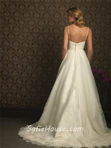 romantic a line spaghetti strap sweetheart tulle lace With a line empire waist wedding dress
