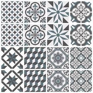 Adhesif Imitation Carreaux De Ciment : sticker carreaux de ciment ginette bleu gris sophie ~ Melissatoandfro.com Idées de Décoration