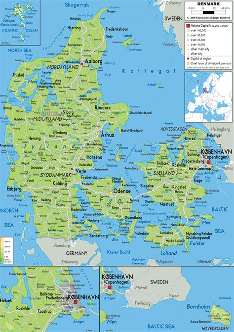 maps  denmark detailed map  denmark  english