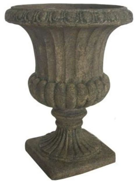 12 inch cast granite finish armory urn traditional