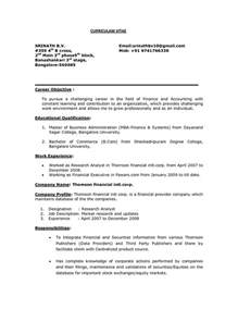 Professional Resume Objective by Career Objective On Resume Like As Career Objective For Resume Finance For Fresher