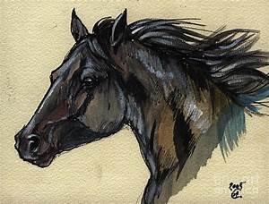 The Black Horse Painting by Angel Ciesniarska