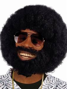 1970s 80s Disco Afro Wig With Facial Hair Lionel Beard ...