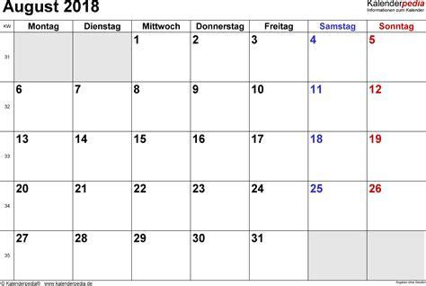kalender august als vorlagen