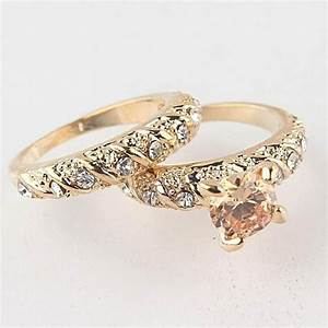 1set his her copper alloy golden engagement ring wedding With womens copper wedding rings