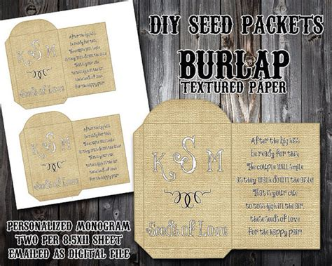 custom monogram burlap diy seed packet printable wedding favors bird seed or rice toss